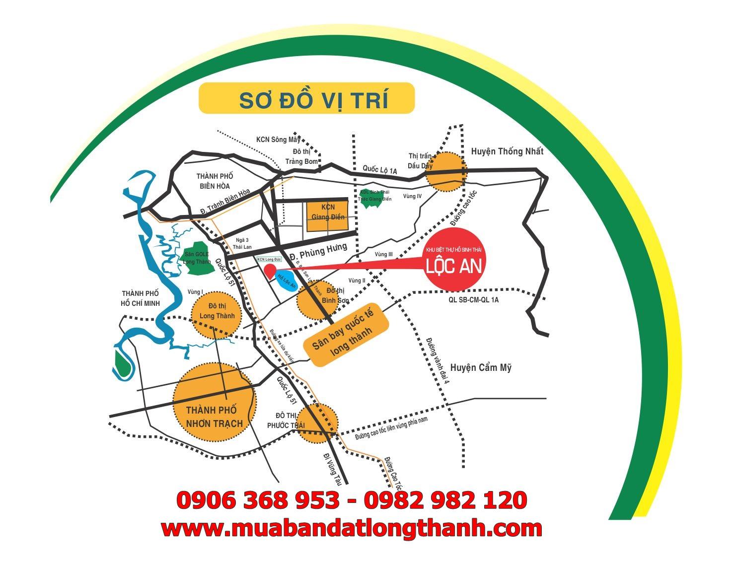 Sơ đồ vị trí đất nền dự án Khu biệt thự Sala Hồ Lộc An Long Thành Đồng Nai
