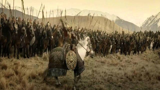 Theoden arengando a sus tropas antes de entrar en batalla