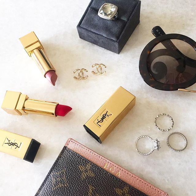 chanel earrings, YSL lipsticks best colors, henri daussi rings, prada sunglasses with bar baroque