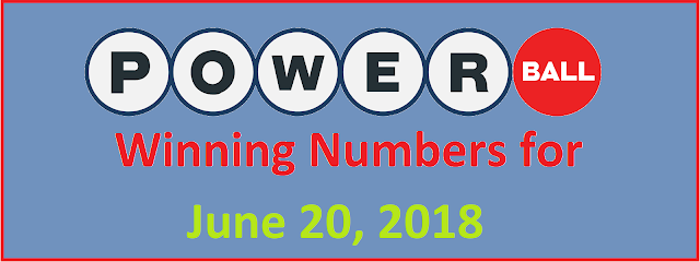 PowerBall Winning Numbers for Wednesday, 20 June 2018