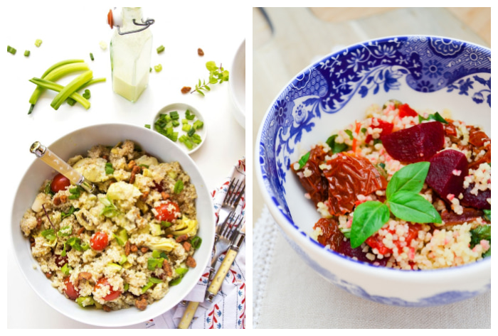 photo of Lemon Garlic Mint Quinoa Salad and Mediterranean Couscous Salad
