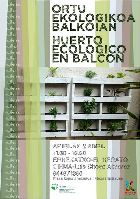 Cartel del taller sobre huertos en el balcón
