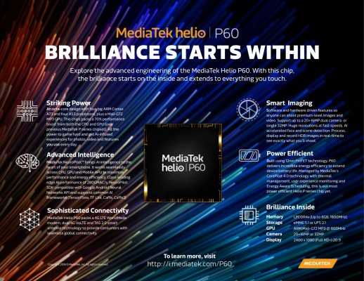MediaTek unveils new Helio P60 chipset with Cortex-A73 with support for AI