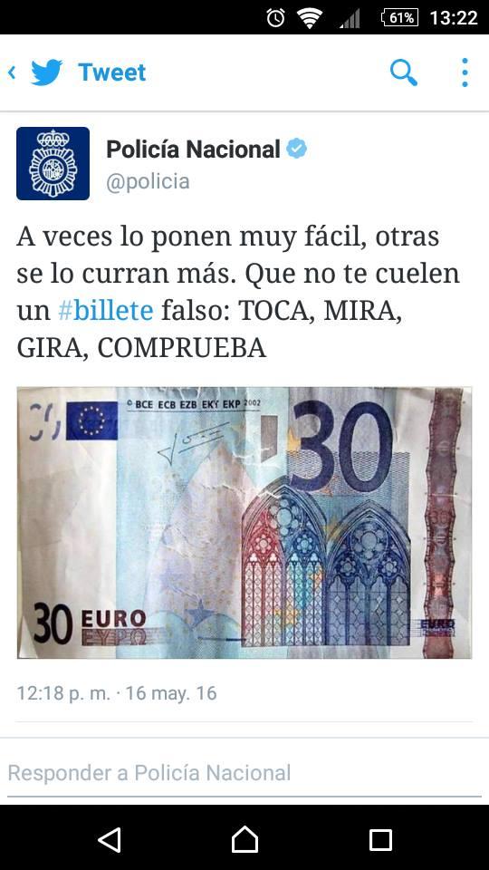 Cuelan billetes de 30 euros