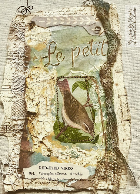 mixed media collage with bird by Dorthe of Den Lillle Lade