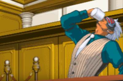Godot drinking coffee Phoenix Wright Ace Attorney Trials and Tribulations covfefe