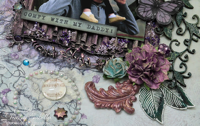 """Comfy with My Daddy"" mixed media layout by Tracey Sabella. Entered in the March More Than Words Main Challenge. #49andMarket  #49&Market  #DustyAttic #Finnabair #PrimaMarketing #mixedmedia #scrapbooklayout  #chipboard  #papercrafting #prills #mtwchallenges"