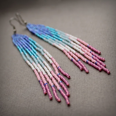 купить серьги в этническом стиле из бисера стильные украшения ручной работы