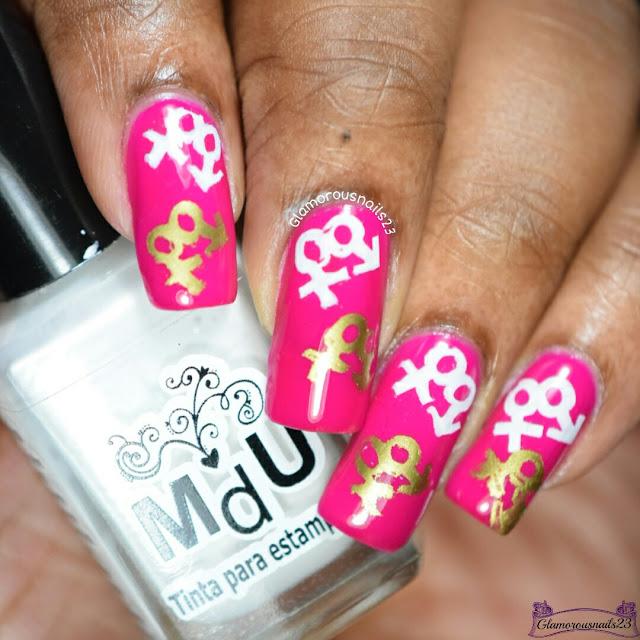 Magenta, White & Gold Stamping Nail Art