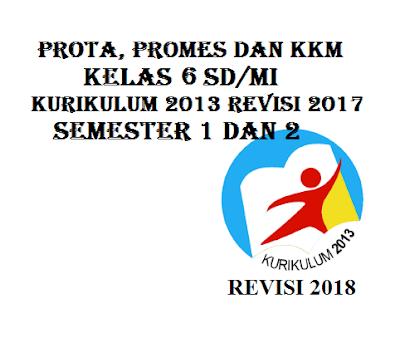 Prota, Promes dan KKM SD/MI Kelas 6 K13 Revisi 2017 Semester 1 dan 2