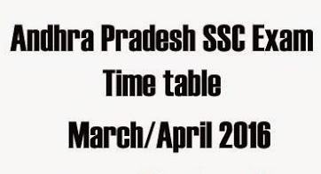 AP SSC,10th Class Annual,Public Exam Time Table 2016