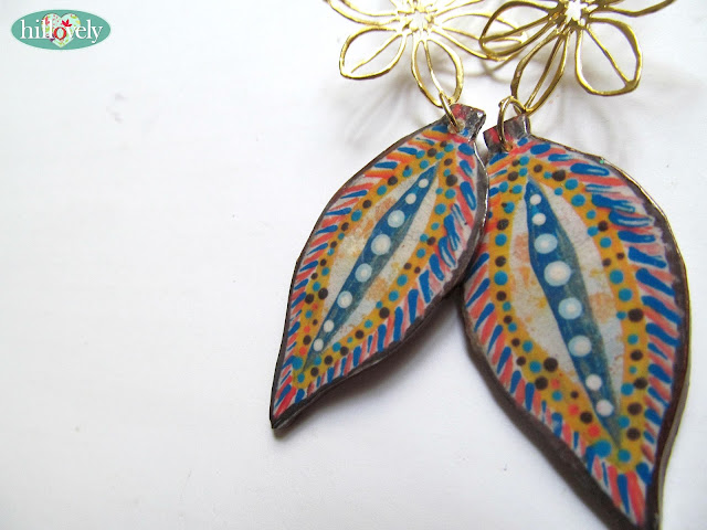 Polymer clay earring, fimo earring,fimo jewelry,transfer paper to fimo
