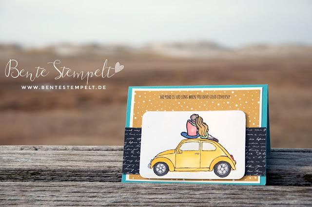 beautiful ride gelber vw käfer aquarell watercolor seidenglanz papier dsp weite welt glossy accents nordsee schleswig-holstein dithmarschen nordfriesland