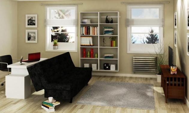 Sala De Estar E Home Office ~  Minha Casa Clean Dúvida de Decoração  Sala de Estar e Cozinha