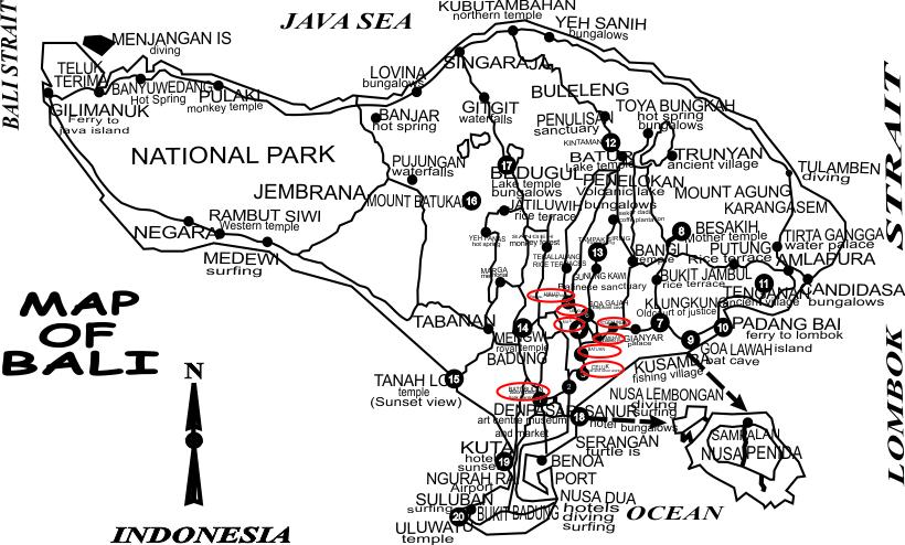 Kemenuh-Tegenungan Travel Plans - Batubulan, Celuk, Mas, Ubud, Kemenuh, Tegenungan Village, Bali