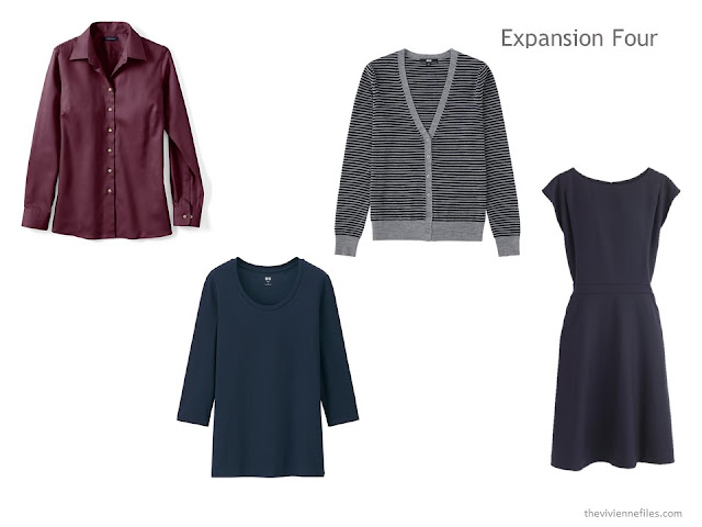 The Expansion Four of two tops, a cardigan and a dress, in navy, grey and burgundy.
