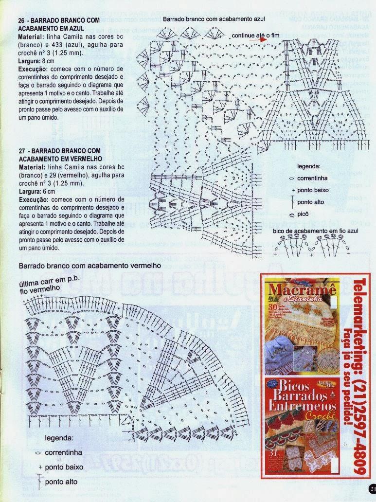 DIY - Decore Com Crochê - Bicos de Crochê de Canto 22, 23 e 24 - Com Gráfico