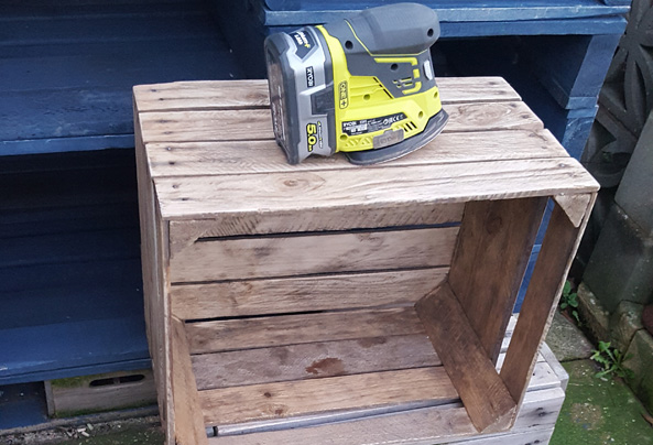 Crate Sanded to make a storage unit