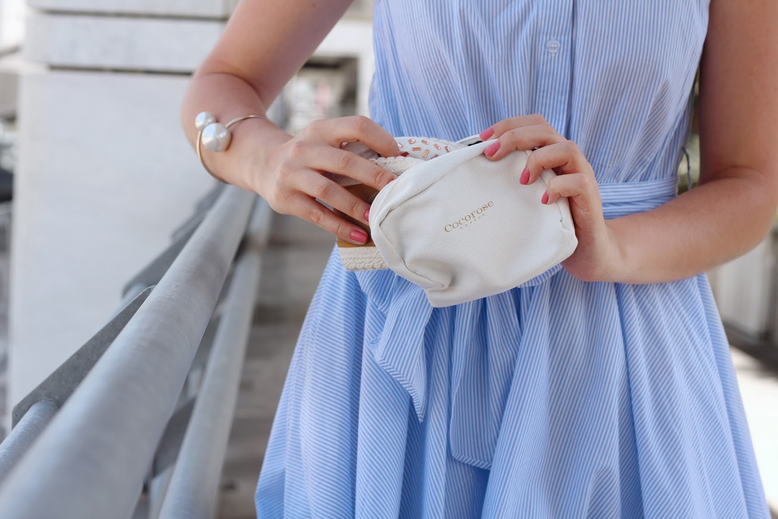 fashion style blogger outfit ootd italian girl italy trend vogue glamour pescara new look bag chic wish dress stripes blue cookeries london flats ballet shoes