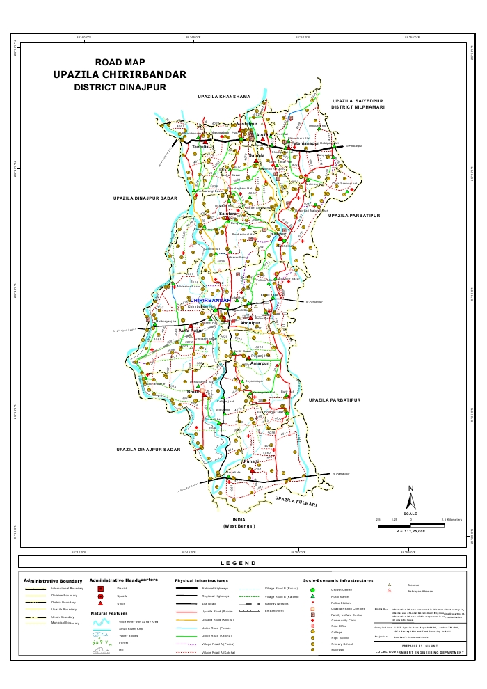Chirirbandar Upazila Road Map Dinajpur District Bangladesh