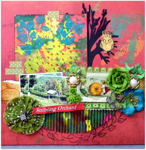 Mixed Media layout with textured embellishments, monoprint, and fabric flowers, for Fall