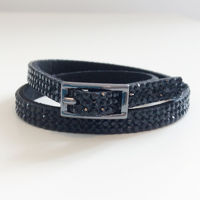 Black sparkly wrap bracelet with buckle