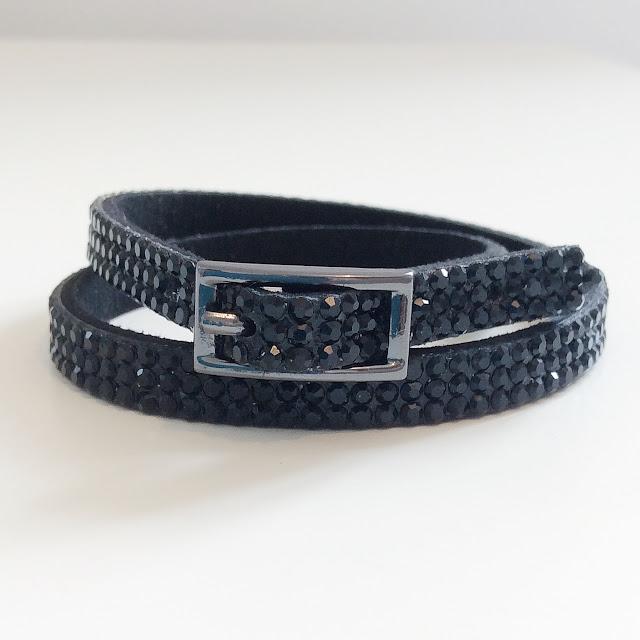 Black sparkly wrap bracelet with buckle