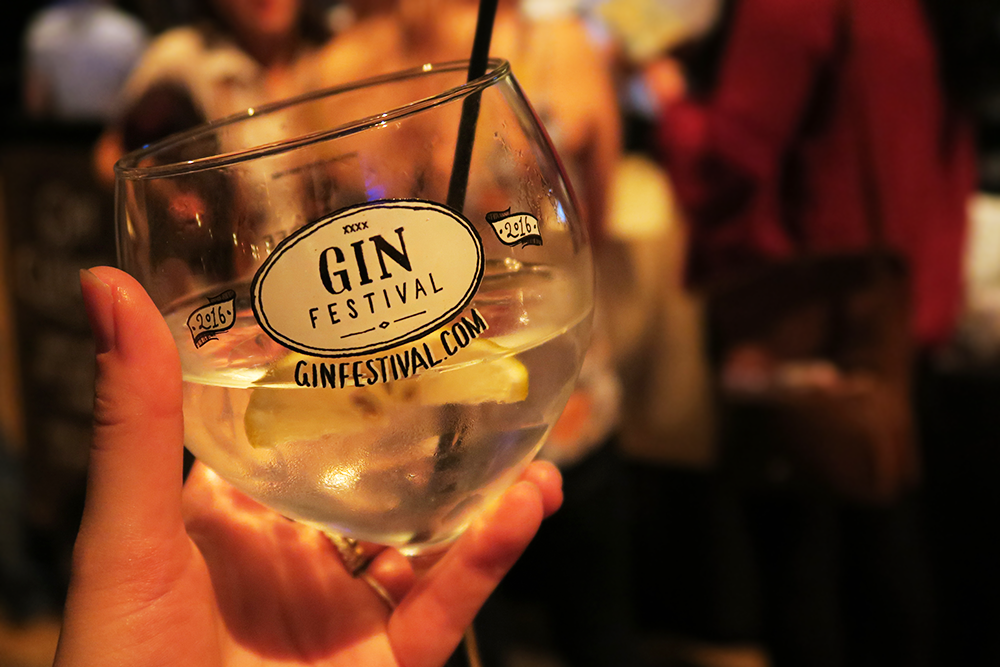 Glass of gin and tonic at the Gin Festival Leeds 2016