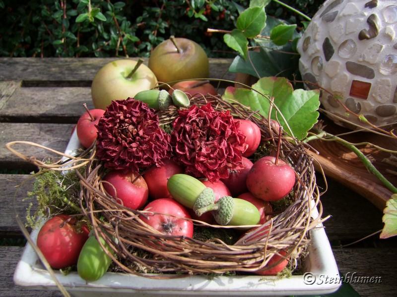 Herbstschale mit Zieräpfeln