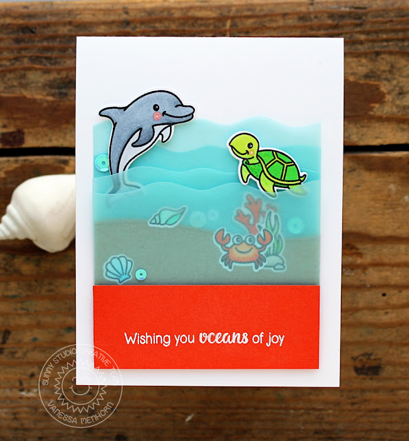 Sunny Studio Stamps: Oceans Of Joy Underwater Sea Creatures Card by Vanessa Menhorn