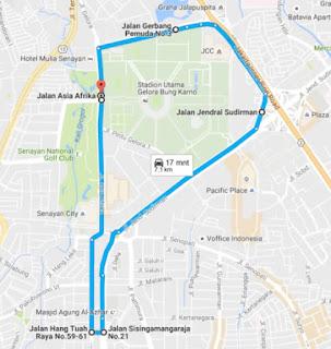 Rute 7.1 km BIB 7.1K Digital Running for Innovation 2016 Jakarta hari bhakti postel plaza senayan