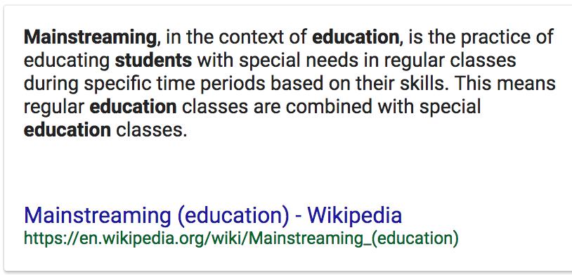 mainstreaming special education and regular classroom essay