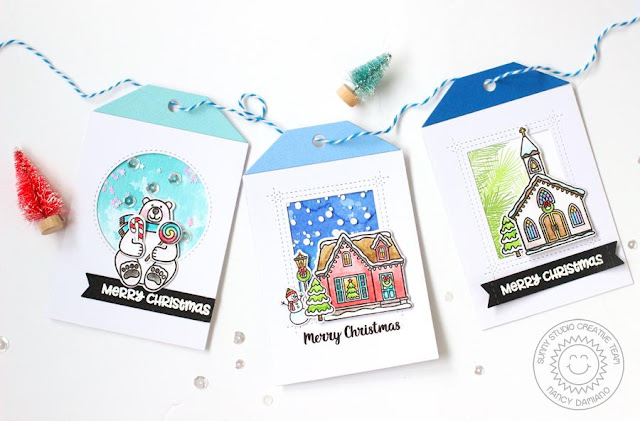 Sunny Studio Stamps: Christmas Home Christmas Chapel Playful Polar Bears Christmas Themed Gift Tags by Nancy Damiano