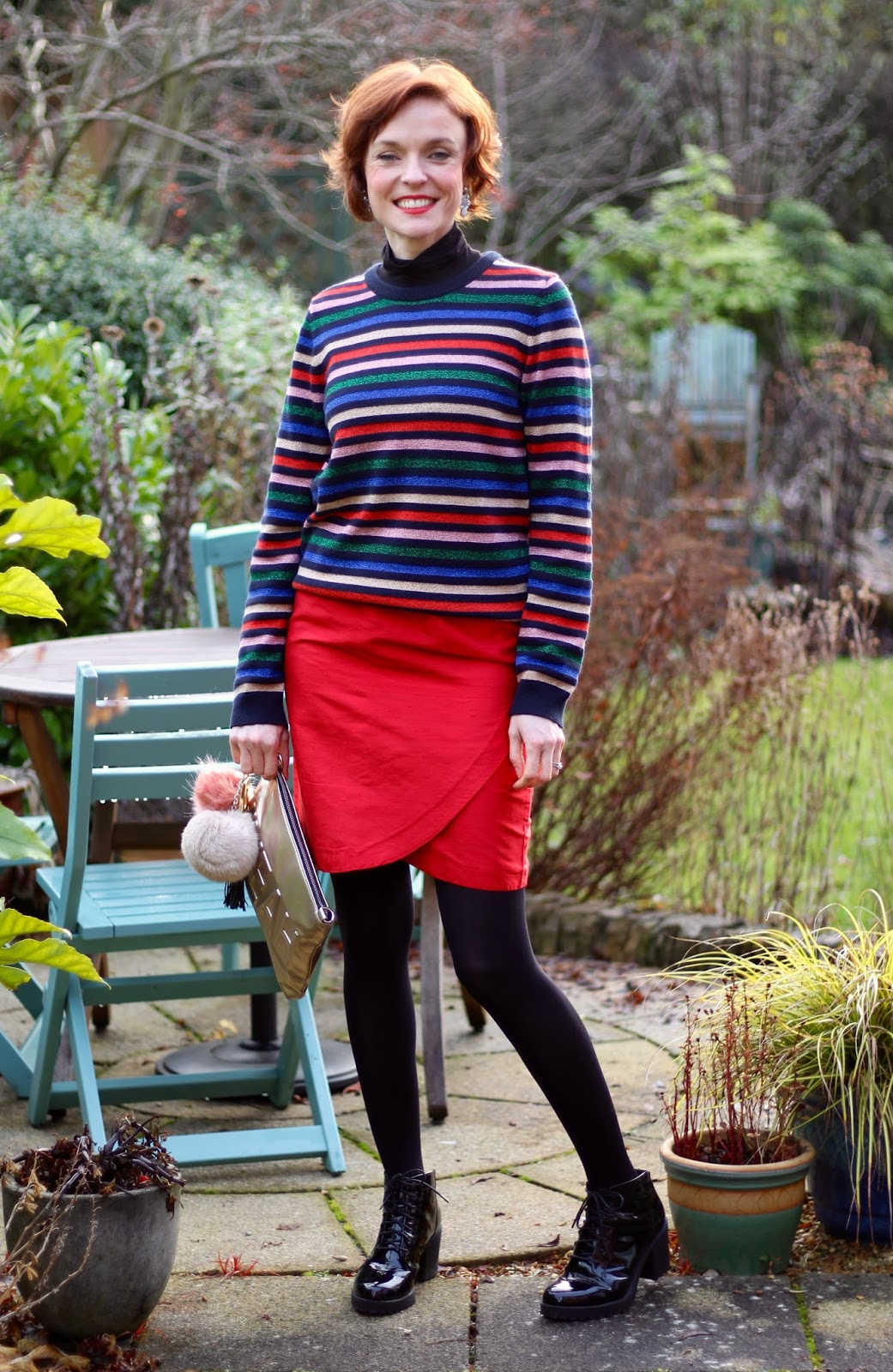 Faking a Christmas Outfit | Lurex Stripes and Red Silk
