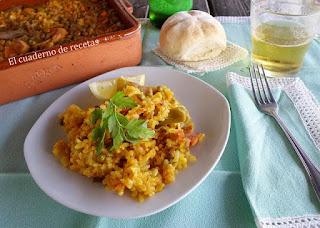 Arroz al horno con verduras y lomo