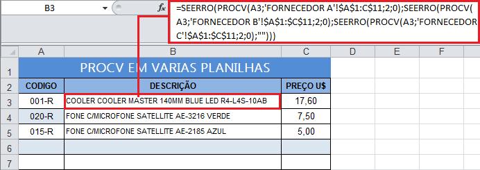 planilha excel com procv