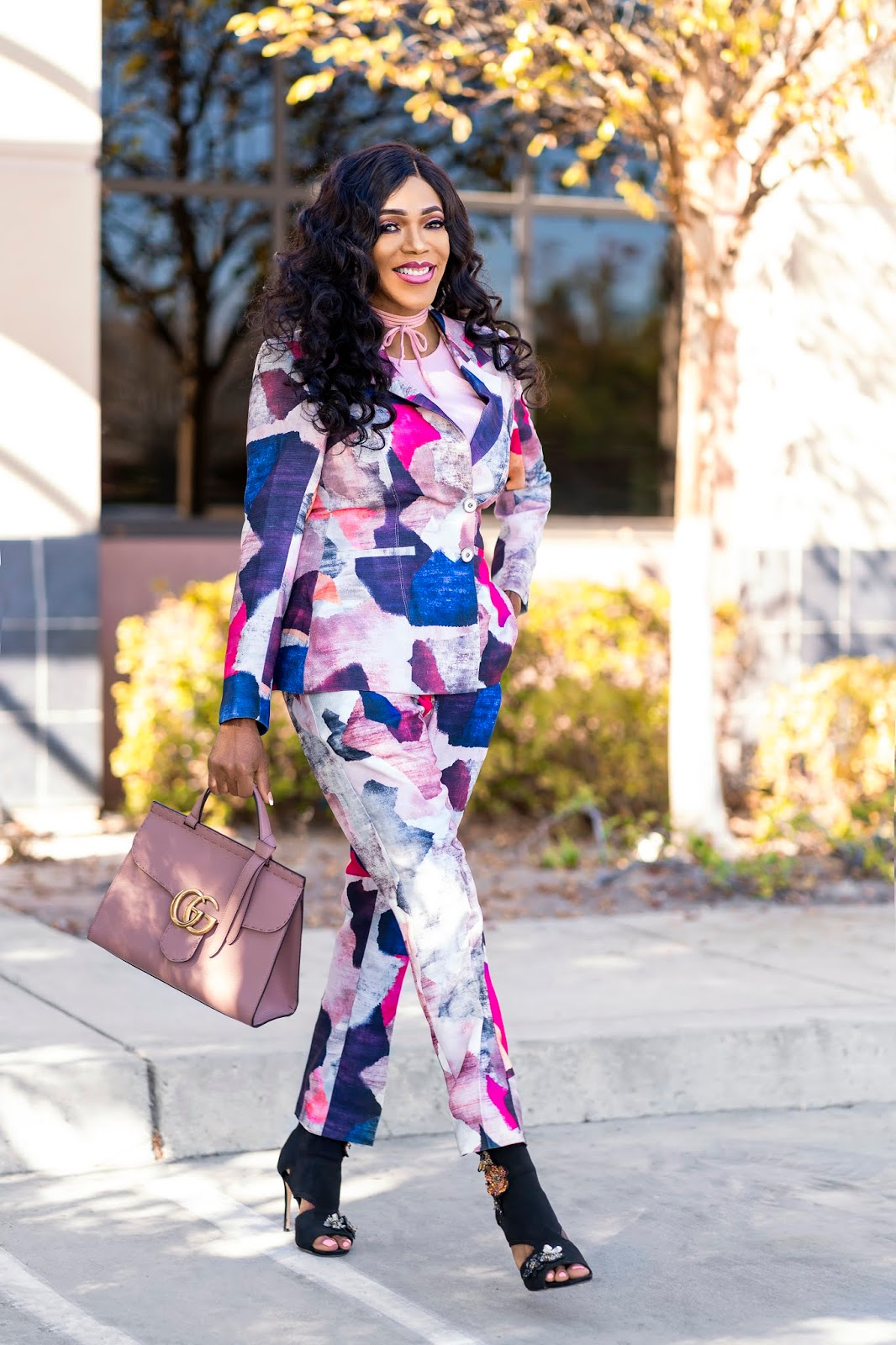 Paint Brush Print Pant Suit