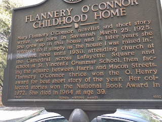 historical marker at flannery o'connor childhood home in Savannah