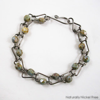Niobium Bracelet with Green Jasper Beads Nickel Free Jewelry