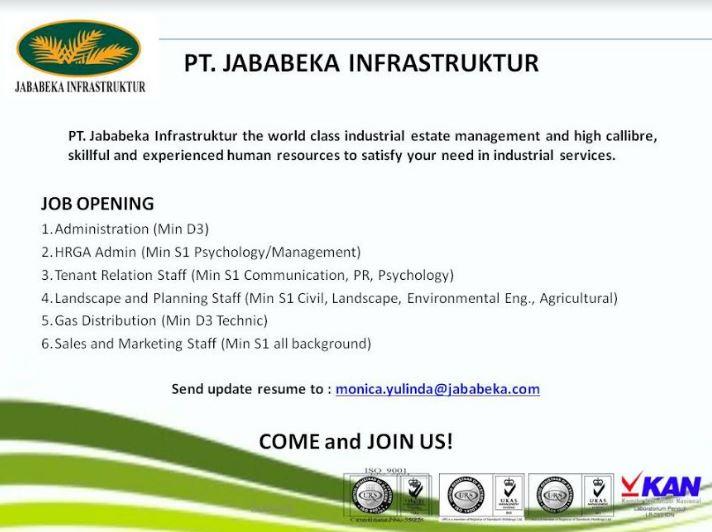 Lowongan Kerja PT Jababeka Insfrastruktur Pendidikan Minimal D3