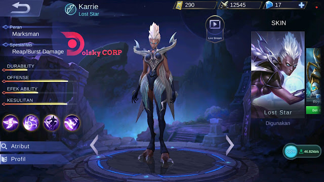 Mobile Legends : Hero Karrie ( Lost Star ) Attack Speed Damage Builds Set up Gear
