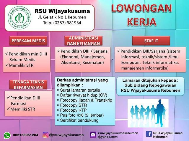 Lowongan Kerja di RSU Wijayakusuma Kebumen, 6 Posisi