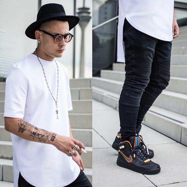 LongLine T-Shirt e Oversized Tee, tendencia preto e branco masculino com usar