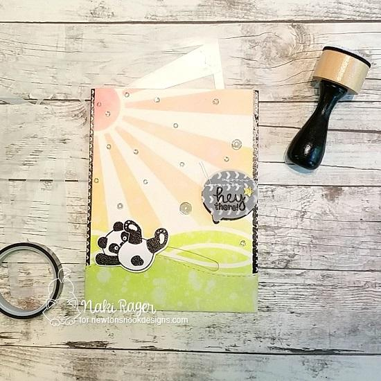 Panda Slider Card by Naki Rager | Playful Pandas Stamp Set and Sunscape Stencil by Newton's Nook Designs #newtonsnook #handmade