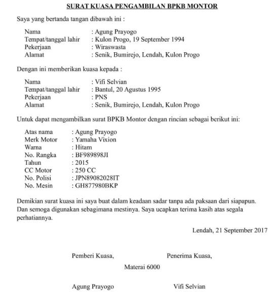 Download Contoh Surat Kuasa Pengambilan Bpkb Mobil Dan Motor