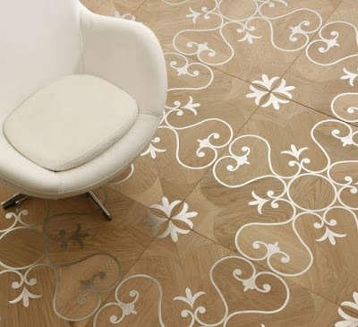 patterned mosaic parquet floor tiling