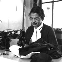 Rosa Parks at Sewing Machine