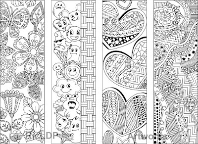 8 printable coloring bookmarks with abstract design