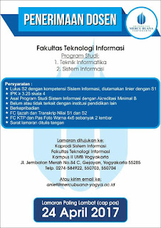 Lowongan Kerja Dosen Universitas Mercu Buana Yogyakarta April 2017