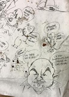 Dessins de nappe, avec des petits bouts de Fred Coicault et Moloch... Vive la choucroute !! ©Guillaume Néel